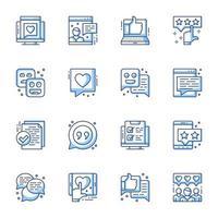 conjunto de ícones de arte de linha de avaliação e satisfação do usuário