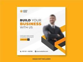 modelo de postagem de mídia social empresarial em laranja e branco