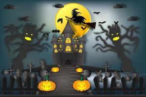 Bruxa cavalgando vassoura voando sobre castelo assombrado à noite vetor