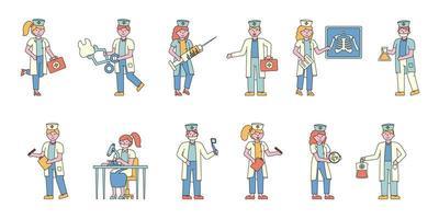 conjunto de design plano para trabalhadores de saúde vetor