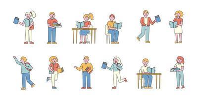 pessoas estudando e lendo conjunto de design plano
