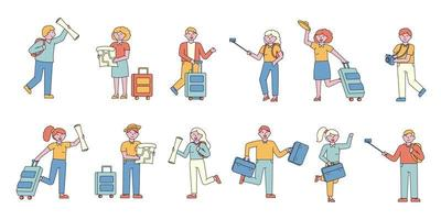 conjunto de design plano de turistas