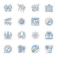 conjunto de ícones de arte em linha de festa e celebração