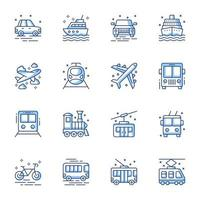 conjunto de ícones de arte de transporte