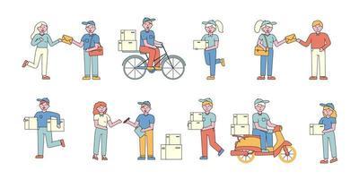 conjunto de design plano de entrega de correio vetor