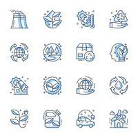 conjunto de ícones de arte em linha de energia sustentável vetor