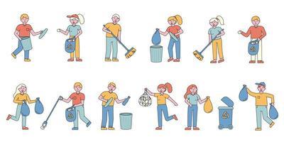 conjunto de design plano para coleta de lixo