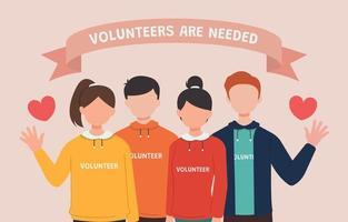 grupo de homens e mulheres chamando voluntários vetor