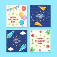 coleção colorida de cartões comemorativos do dia das crianças vetor