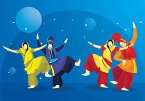 Vector Bhangra dança a noite ao ar livre