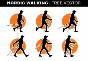 Silhuetas Nordic Walking Vector grátis