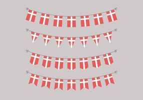 Guirlandas de bandeiras dinamarquesas vetor