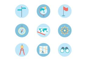 Ícones planas de Navegação Tema vetor
