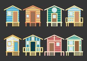 Ícones cabana de praia vetor