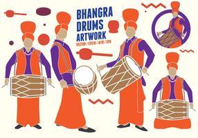 Punjabi Drumers Figuras vetor