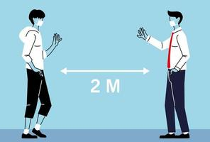distanciamento social entre homens com máscaras