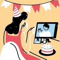 mulher com chapéu de festa e computador no chat