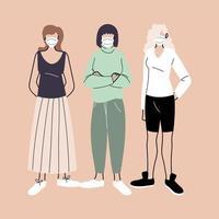 mulheres usando máscaras médicas vetor