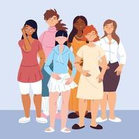 pessoas multiculturais, mulheres com roupas casuais diferentes