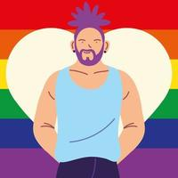 homem com bandeira do orgulho gay no fundo, lgbtq