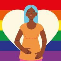 mulher com bandeira do orgulho gay no fundo, lgbtq
