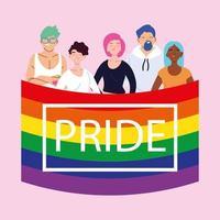 pessoas com bandeira do orgulho LGBT
