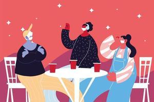 grupo de pessoas com máscaras bebendo e comemorando vetor