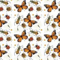 padrão sem emenda de insetos diferentes vetor