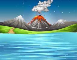 erupção de vulcão em cena de floresta natural
