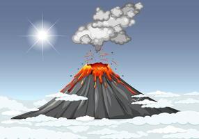 erupção do vulcão no céu com nuvens