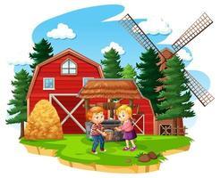 fazenda com celeiro vermelho e moinho de vento