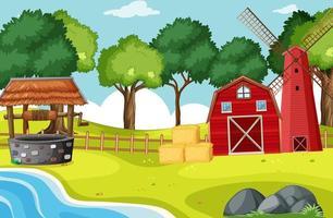 celeiro e moinho de vento em cenário de fazenda
