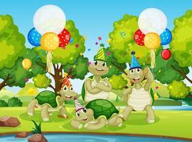 grupo de tartarugas em tema de festa vetor