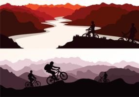 Ilustração Bike Trail Silhueta vetor