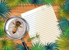 vista superior do papel em branco na mesa com insetos