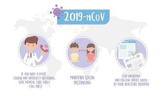 banner de dicas de saúde para prevenção de coronavírus vetor