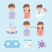 conjunto de prevenção de coronavírus vetor