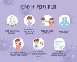banner de informações de prevenção de coronavírus vetor