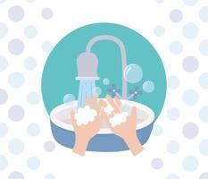 prevenção do coronavírus com lavagem das mãos vetor