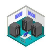 sala do servidor isométrica vetor
