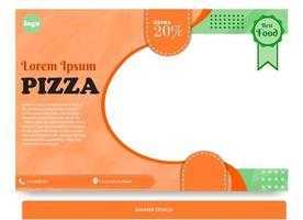 desenho de banner para pizza cheia de cores vetor