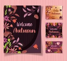 conjunto de cartas de boas-vindas outono vetor
