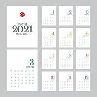 modelo de calendário turco 2021 vetor