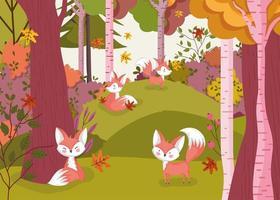 Olá cartaz de outono com floresta e animais