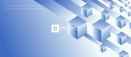 3d geométrica forma de caixa com fundo azul gradiente vetor