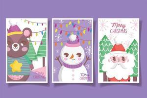 conjunto de cartões de natal fofos com personagens