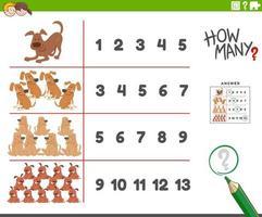 atividade de contagem com cães de desenho animado, personagens animais vetor