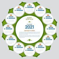 modelo de calendário 2021 em forma de flor vetor