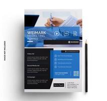modelo pronto para impressão de folheto brochura em preto e azul vetor