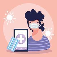 conceito de saúde online com paciente doente vetor